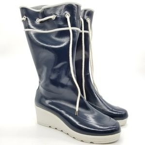 Sperry Wedge Lined Rubber Rain Boots Sz 10